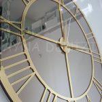 Gold Bronze Model Altın Bronz Renk Dekoratif Aynalı Duvar Saati-19