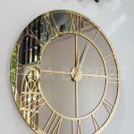 Gold Bronze Model Altın Bronz Renk Dekoratif Aynalı Duvar Saati-2