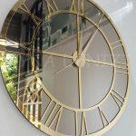 Gold Bronze Model Altın Bronz Renk Dekoratif Aynalı Duvar Saati-4
