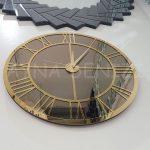 Gold Bronze Model Altın Bronz Renk Dekoratif Aynalı Duvar Saati-5