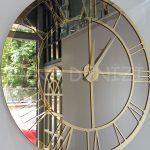Gold Bronze Model Altın Bronz Renk Dekoratif Aynalı Duvar Saati-7