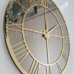 Gold Bronze Model Altın Bronz Renk Dekoratif Aynalı Duvar Saati-8