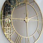 Gold Bronze Model Altın Bronz Renk Dekoratif Aynalı Duvar Saati-9