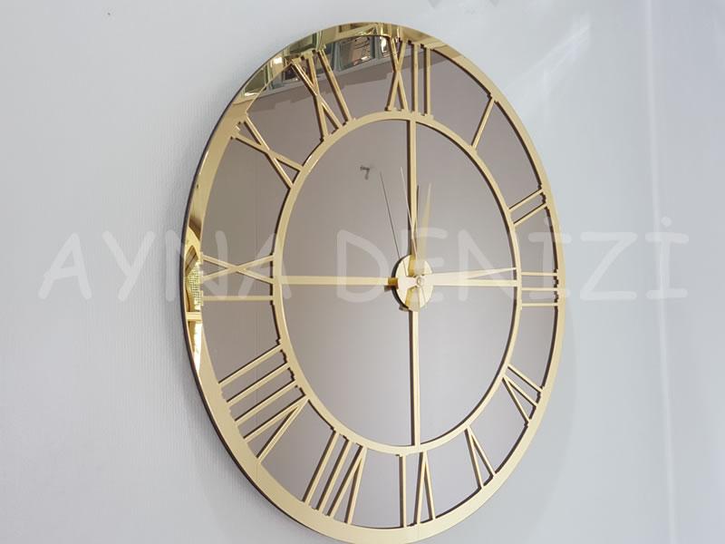 Gold Bronze Model Altın Bronz Renk Dekoratif Aynalı Duvar Saati