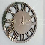 Circle Bronze Model Bronz Renk Dekoratif Aynalı Duvar Saati-1