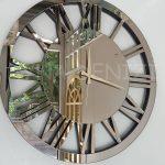 Circle Bronze Model Bronz Renk Dekoratif Aynalı Duvar Saati-12