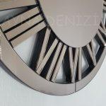 Circle Bronze Model Bronz Renk Dekoratif Aynalı Duvar Saati-13