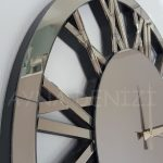 Circle Bronze Model Bronz Renk Dekoratif Aynalı Duvar Saati-14