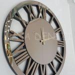 Circle Bronze Model Bronz Renk Dekoratif Aynalı Duvar Saati-2