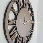 Circle Bronze Model Bronz Renk Dekoratif Aynalı Duvar Saati-3