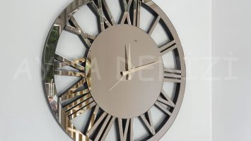 Circle Bronze Model Bronz Renk Dekoratif Aynalı Duvar Saati