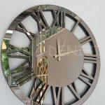 Circle Bronze Model Bronz Renk Dekoratif Aynalı Duvar Saati-4