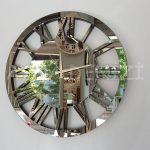 Circle Bronze Model Bronz Renk Dekoratif Aynalı Duvar Saati-5