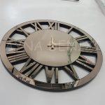 Circle Bronze Model Bronz Renk Dekoratif Aynalı Duvar Saati-6