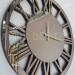 Circle Bronze Model Bronz Renk Dekoratif Aynalı Duvar Saati-8