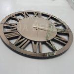 Circle Bronze Model Bronz Renk Dekoratif Aynalı Duvar Saati-9