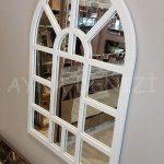 Galata Model Beyaz Renk Dekoratif Pencere Ayna-11
