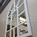 Galata Model Beyaz Renk Dekoratif Pencere Ayna-14