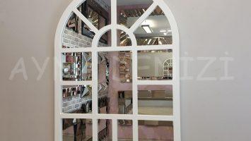 Galata Model Beyaz Renk Dekoratif Pencere Ayna