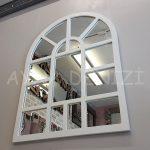 Galata Model Beyaz Renk Dekoratif Pencere Ayna-9