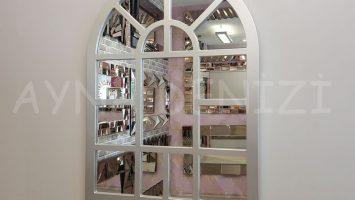 Galata Model Gümüş Renk Dekoratif Pencere Ayna