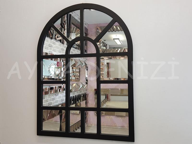 Galata Model Siyah Renk Dekoratif Pencere Ayna