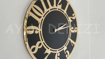 Golden Latin Black Model Altın Siyah Renk Dekoratif Aynalı Duvar Saati