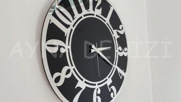 Silver Latin Black Model Gümüş Siyah Renk Dekoratif Aynalı Duvar Saati