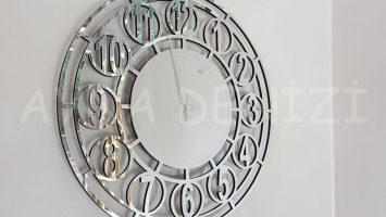 Silver Space Model Gümüş Renk Dekoratif Aynalı Duvar Saati