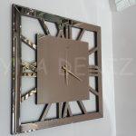 Square Bronze Model Bronz Renk Dekoratif Aynalı Duvar Saati-1