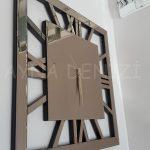 Square Bronze Model Bronz Renk Dekoratif Aynalı Duvar Saati-11