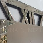 Square Bronze Model Bronz Renk Dekoratif Aynalı Duvar Saati-14
