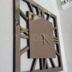 Square Bronze Model Bronz Renk Dekoratif Aynalı Duvar Saati-3