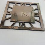 Square Bronze Model Bronz Renk Dekoratif Aynalı Duvar Saati-5