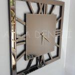 Square Bronze Model Bronz Renk Dekoratif Aynalı Duvar Saati-6