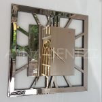 Square Bronze Model Bronz Renk Dekoratif Aynalı Duvar Saati-7