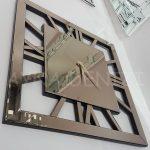 Square Bronze Model Bronz Renk Dekoratif Aynalı Duvar Saati-8