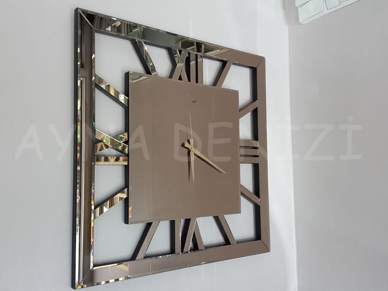 Square Bronze Model Bronz Renk Dekoratif Aynalı Duvar Saati