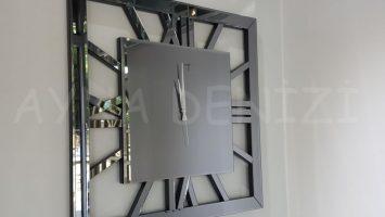 Square Smoked Model Füme Renk Dekoratif Aynalı Duvar Saati