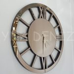 Circle Roma Bronze Model Bronz Renk Dekoratif Aynalı Duvar Saati-1