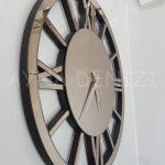 Circle Roma Bronze Model Bronz Renk Dekoratif Aynalı Duvar Saati-10