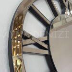 Circle Roma Bronze Model Bronz Renk Dekoratif Aynalı Duvar Saati-12