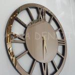 Circle Roma Bronze Model Bronz Renk Dekoratif Aynalı Duvar Saati-2