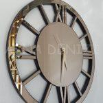 Circle Roma Bronze Model Bronz Renk Dekoratif Aynalı Duvar Saati-3
