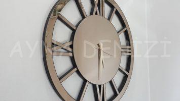 Circle Roma Bronze Model Bronz Renk Dekoratif Aynalı Duvar Saati