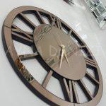 Circle Roma Bronze Model Bronz Renk Dekoratif Aynalı Duvar Saati-5
