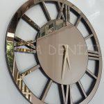 Circle Roma Bronze Model Bronz Renk Dekoratif Aynalı Duvar Saati-6