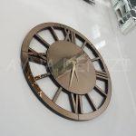 Circle Roma Bronze Model Bronz Renk Dekoratif Aynalı Duvar Saati-8
