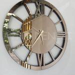 Circle Roma Bronze Model Bronz Renk Dekoratif Aynalı Duvar Saati-9