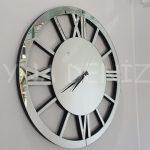 Circle Roma Silver Model Gümüş Renk Dekoratif Aynalı Duvar Saati-1